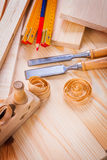 Carpentry tools wooden meter woodworkers plane Stock Photography