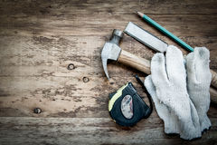 Carpentry tools on the wooden table Royalty Free Stock Image