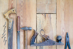 Carpentry tools on a wooden table top.  Stock Photo