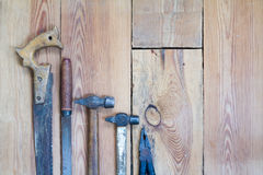 Carpentry tools on a wooden table top stock photography