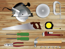 Carpentry tools on wooden texture background Stock Photos