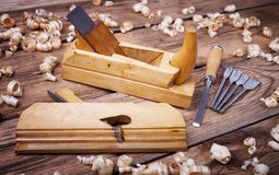 Carpentry tools for woodworking Stock Photo