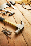 Carpentry. Various type of carpentry tools with shallow depth-of-field Royalty Free Stock Image