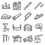 Carpentry wood work tools and equipment line icons set Royalty Free Stock Photo