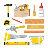 Carpentry And Woodwork Tools Set Vector. Repair And Building Accessories. Board, Hammer, Toolbox, Brush, Glue, Pencil. Tape Measure, Saw Ruler Bucket Drill stock illustration