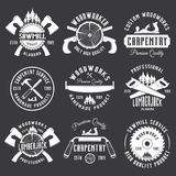 Carpentry and woodworking vector white labels. Carpentry, woodworking, lumberjack, sawmill service set of vector vintage white labels, badges and emblems Royalty Free Stock Photos