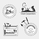 Carpentry works icons flat set with tools Royalty Free Stock Images