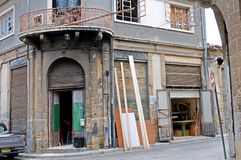 Carpentry workshop  on the corner  in Nicosia, Cyprus. Royalty Free Stock Image