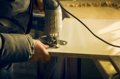 Carpentry workshop routine Royalty Free Stock Photo