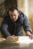 Carpentry workshop routine Stock Image