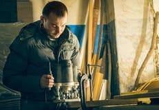 Carpentry workshop routine Stock Photo
