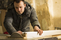 Carpentry workshop routine Royalty Free Stock Images