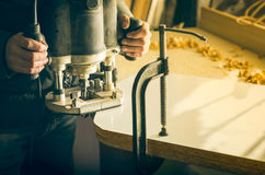 Carpentry workshop routine Stock Images