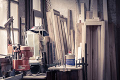 Carpentry workshop. With tools and supplies Stock Photos