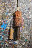 Carpentry workshop. Wooden hammer and chisel in old carpentry workshop Royalty Free Stock Photo