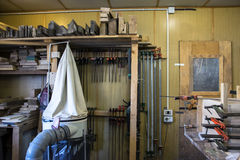 Carpentry workshops with various tools.  Stock Image