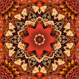 Carpet or bandana print with red tulip on beautiful mandala flower. Seamless pattern in ethnic style. Indian, turkish motives.  royalty free illustration