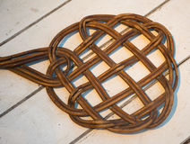 Carpet beater. Very old carpet beater on the vintage table Stock Image