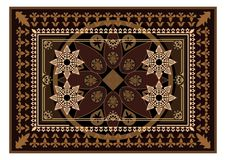 Carpet with brown color. The Eastern rectangular rug with different patterns and frames royalty free illustration