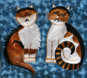 Carpet with cats Royalty Free Stock Photo