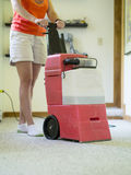 Carpet Cleaning. A woman cleaning a wall to wall carpet with a rental steam cleaner Royalty Free Stock Image