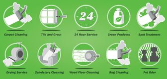 Carpet cleaning business service icons. Various carpet cleaning related business service icons. Icons specifically related to the carpet cleaning industry. Can vector illustration