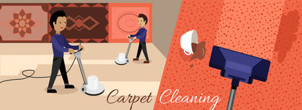 Carpet Cleaning Service. Banner. Man in uniform cleaning carpet with commercial cleaning equipment. Carpets chemical cleaning with professionally disk machine Stock Photo