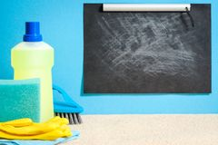 Carpet cleaning supplies shopping checklist mockup royalty free stock image