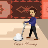 Carpet Cleaning Vector Concept in Flat Design Royalty Free Stock Image