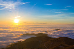 Carpet of clouds from mountain top Stock Photography