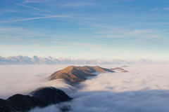 Carpet of clouds from mountain top Stock Images