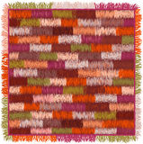 Carpet with colorful grunge striped geometric pattern and fringe Royalty Free Stock Photos