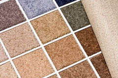 Carpet colors. Colorful carpet swatch with backing showing on the side Stock Images