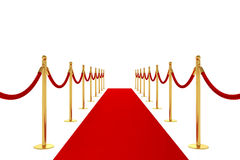 Carpet concept. 3d render of red carpet isolated on white background Royalty Free Stock Photography