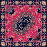 Carpet with a double flower - mandala and bright ornamental frame. Vector illustration. Bandana print or festive tablecloth in ethnic style Royalty Free Stock Images