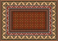 Carpet with ethnic ornament of beige and gray  patterns and motley center  Stock Image