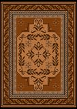 Carpet with ethnic ornament in brown and beige shades and a floral pattern in yellow and brown tones on the middle. Design carpet with ethnic ornament in brown Royalty Free Stock Image