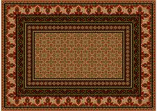 Carpet with ethnic ornament with red patterns to border in light brown shades. Luxurious colourful old design carpet with ethnic ornament with red patterns to Stock Images