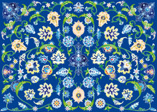 Carpet of flowers in blue. Vector drawings of floral decorations such grotesque on a blue background, patterns vector illustration