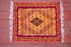 Carpet with geometric ornament Stock Photos