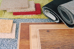 Carpet and laminate choice. For interior Royalty Free Stock Photo