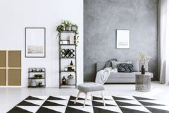 Carpet in living room. Geometrical carpet in living room interior with metal shelf, sofa, stool, grey wall and paintings Stock Photography