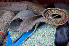 Carpet padding. Load of carpet paddings to be recycled stock photo