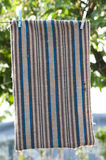 Carpet pegged to a clothesline. Brown, black and blue striped carpet pegged to a clothesline stock photo
