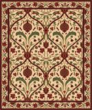 Carpet with pomegranate. Colorful template for carpet, textile. Oriental floral pattern with pomegranate vector illustration