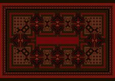 Carpet with red and blue vintage ornament and burgundy color in the middle. Ethnic carpet with red and blue vintage ornament and burgundy color in the middle stock illustration