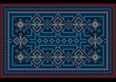 Carpet with red and blue vintage ornament and burgundy color in the middle. Ethnic carpet with red and blue vintage ornament and burgundy color in the middle vector illustration