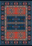 Carpet with red and blue vintage ornament and burgundy color in the middle. Ethnic carpet with red and blue vintage ornament and burgundy color in the middle royalty free illustration