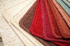 Carpet samples. Samples of carpet coverings in shop Stock Images