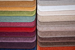 Carpet samples collection. Some colorfull carpet samples to make a choice for your floor Stock Photography